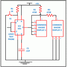 logic high and low indicator on segment display engineersgarage circuit diagram for logic high and low indicator on 7 segment display