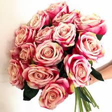 8pcs artificial rose medium pink color velvet rose flower single stem rose flowers 50cm for wedding home party decorative flower artificial dried flowers