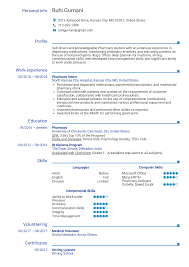 Resume Examples By Real People Pharmacy Intern Resume
