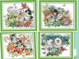Amazon Com Happy Forever Cross Stitch Animals Four