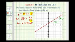 ex 1 find the equation of a line in slope intercept form given the graph of a line