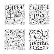 かわいいイラストと休日の装飾のモダンな手書き文字のベクトルを設定しますトレンディな新しい年のデザイ