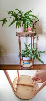 diy copper pipe and wood slice plant stand