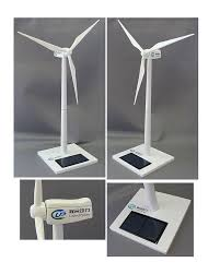 it has a solar panel that powers the blades when it is exposed to sunlight this is an amazingly cool alternative energy corporate gift logo wind turbine