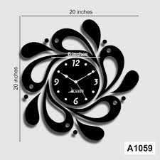 black acrylic flower pattern diy designer wall clock wall sticker lasercraft