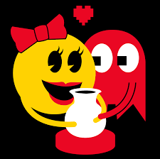 ms pac man and blinky having a romantic moment over a pottery wheel ghosts