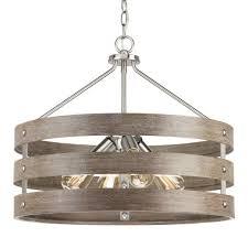4 light brushed nickel drum pendant
