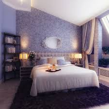 cozy purple wall decal romantic bedroom design with chesterfield upholstered headboard and purple synthetic rug also black wood corner bookshelf romantic