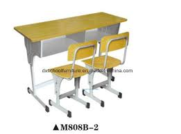 wooden two seater school furniture with drawer