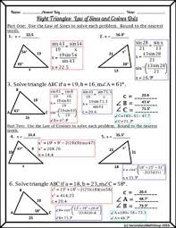 math laws right triangles unit the laws of cosines sines quiz freebie