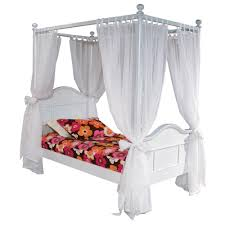 Emma White Twin Four Post Bed with Tall Headboard