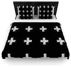skye zambrana swiss cross black simple dark cotton duvet cover queen 88