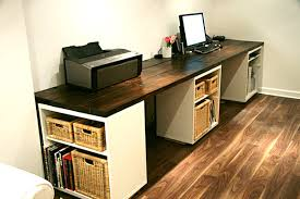 office desk large. Wall Mounted Desks For Saving Space : Large DIY Desk With Storage Shelves Office
