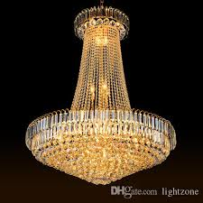luxury royal empire crystal chandelier large pendant crystal chandeliers light for hotel lobby double floor villa construction project ce led chandeliers