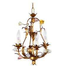 1920 s tole chandelier with porcelain flowers p a romantic small chandelier made of gilded