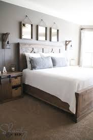 After I repainted my Sliding Barn Door Media Cabinet and built the barn  doors, which I stained Briarsmoke, I had to either paint my old bed  or.build a new ...