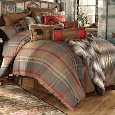 rustic bedding queen size mountain trail plaid moose bear bed set black forest decor