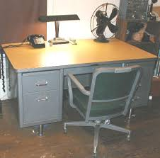 old office desk. Is Greater On The Blank Side Of Desk. Thus Two Tops Are Interchangeable. Photo Shows Desk With A Matching Steelcase Metal Office Chair. Old O