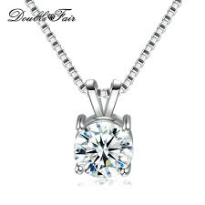 whole simple elegant round cz diamond necklace pendant white gold plated fashion jewelry for women gift dfn613 charms for bracelets mom pendant