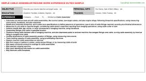 cable assembler resume sample free example doc format for building and  writing guide - Assembly Resume