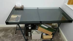 ikea black vika gruvan glass top modern office computer work desk in remodel 14
