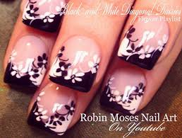 Easy French Nail Designs Black And White Flower Nails Easy French Daisy Nail Art