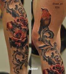 фото татуировки розы в стиле реализм татуировки на коленях