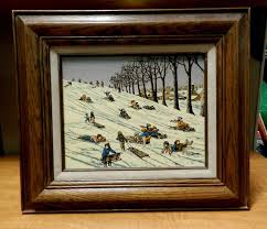 7268 h hargrove oil painting children playing in snow signed framed children play paintings and oil
