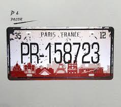 Paris Home Decor Accessories Unique DL PR 32 PARIS FRANCE License Plate Vintage MetalTIN Sign