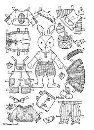 Boy Bunny Paper Doll Coloring Page Design Kids Design Kids