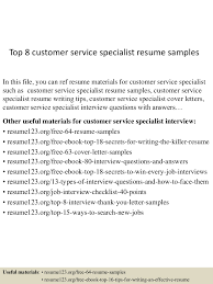 Customer Service Specialist Resume Top224customerservicespecialistresumesamples224conversiongate224thumbnail24jpgcb=12429930206 17