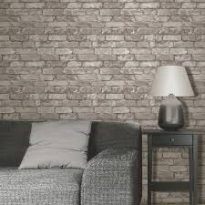 ... Decorating RUSTIC BRICK EFFECT WALLPAPER 10m SILVER GREY NEW FINE DECOR  eBay