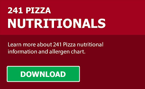 241 pizza nutritional information and allergen chart