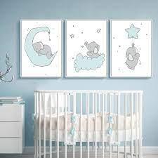 This modern minimalist nursery decor print is ideal for a children's bedroom, playroom, or bonus room. Cartoon Cloud Elephant Green Nursery Painting Wall Art Baby Boy Room Decor Print Ebay