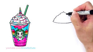 cute starbucks drawing. Unique Starbucks How To Draw A Starbucks Unicorn Frappuccino In Cute Drawing