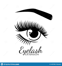 Eyelash Graphic Design Cute Eyelash Extension Logo Isolated On White Stock Vector