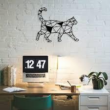 cat metal wall art modern geometric