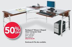 office depot glass computer desk. Office Depot And OfficeMax Black Friday: Realspace Mezza L-Shaped Glass Computer Desk For