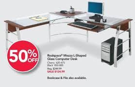 office depot glass computer desk. Interesting Computer Office Depot And OfficeMax Black Friday Realspace Mezza LShaped Glass  Computer Desk For Throughout