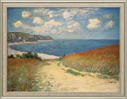 claude monet painting path through wheat fields to pourville 1882 framed