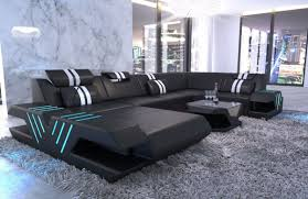 Modern leather couch Luxury Modern Couch Beverly Hills Shape With Ottoman And Led Lights Black Thomas Lloyd Leather Sofa Beverly Hills Shaped Sofa Sofadreams