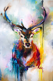 free colorful bright color canvas wall art deer abstract animal oil painting unframe home decor