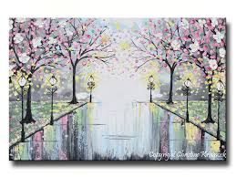 >giclee print art abstract painting pink blossoming cherry trees park  giclee print art abstract painting pink blossoming cherry trees park flowers canvas prints grey decor