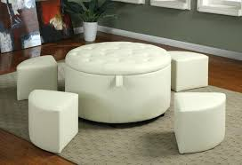 White leather coffee tables Havana Round Leather White Leather Coffee Table With Storage Round Ottoman Tufted An Air Of Modernity In White Leather Coffee Table Annetuckleyco Coffee Table Marvelous Black White Leather Ottoman Flyingwithkidsco