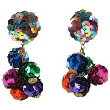 vintage colorful sequin disco dangling chandelier clip on earrings for