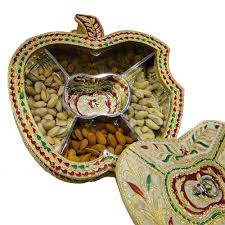 apple shaped gift box with wooden base br covering and meena work