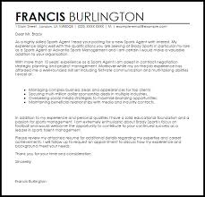 Sports Management Cover Letters Sports Agent Cover Letter Sample Cover Letter Templates