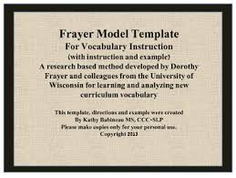 Frayer Model Directions Simple Frayer Model Template