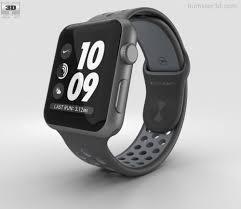 apple nike watch series 2. apple watch nike+ 42mm space gray aluminum case black/cool nike sport band 3d model series 2