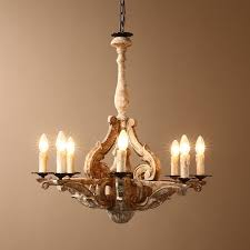 retro french country carved wood 8 light distressed candle style wood candle chandelier
